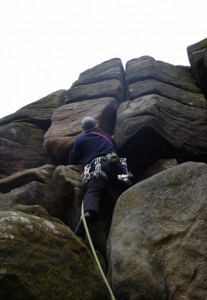 rock climbing on Birchen Edge