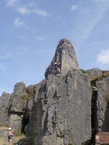 Rock climbing at Harboro Rocks